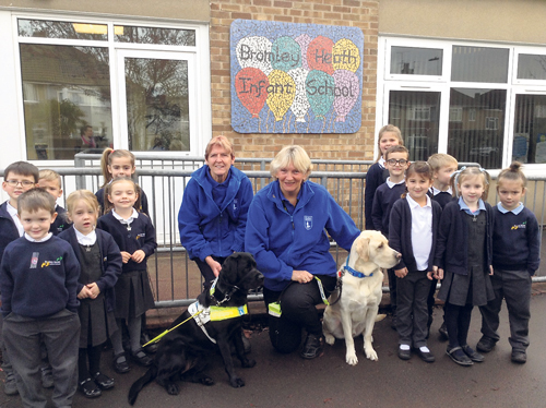 Delight as pupils meet Bromley, the guide dog they have named