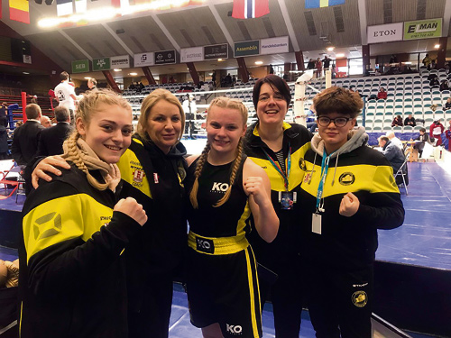 The Downend Boxing Club team at the Golden Girl championships in Sweden