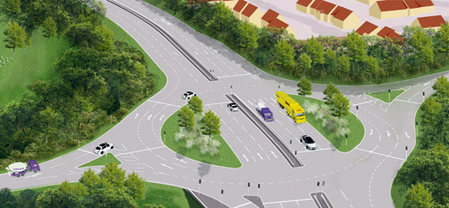 A £6.9 MILLION revamp of a roundabout on the Avon Ring road will see drivers needing to go left if they want to turn right.