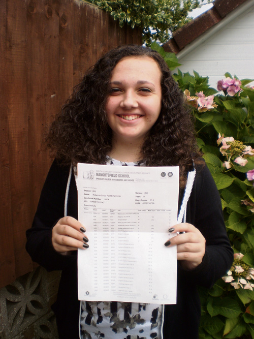 Becca Purrington is all smiles after achieving great GCSE results