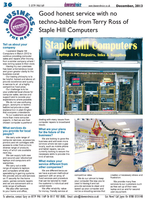 Staple Hill Computers Business of the month