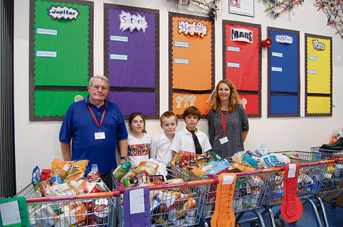 CHILDREN of Mangotsfield C of E Primary School and their families have been busy collecting food for the Resound foodbank in Mangotsfield.