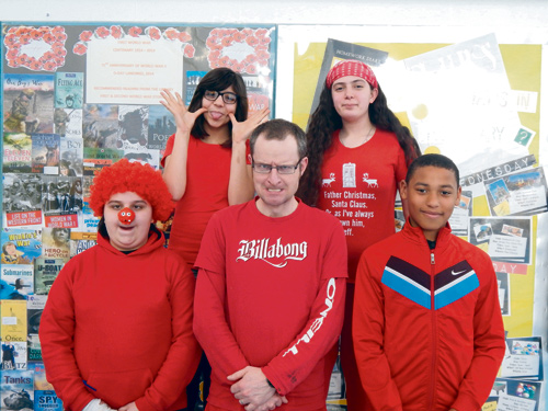 Students and staff at Bristol Metropolitan Academy were among those making their faces funny for money on Red Nose Day in aid of Comic Relief