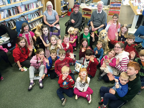 Kerstin Sheridan, Jan Peters and Martin Sullivan with their dogs Laura, Celia and Dale at Downend Library