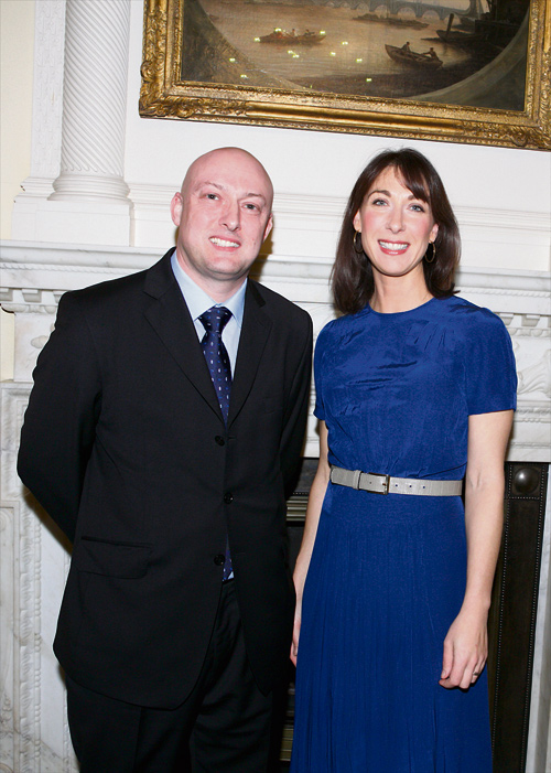 Charity founderMartin Bisp with Sam Cameron at 10 Downing Street.