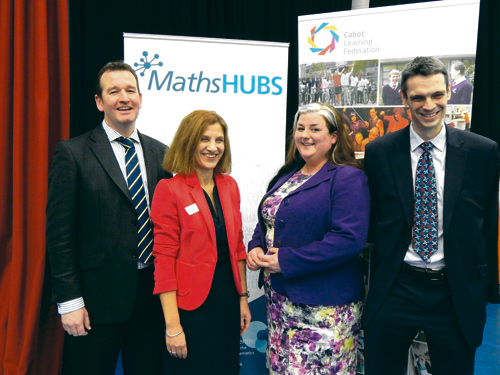 Steve Taylor, chief executive of the Cabot Learning Federation, Claire Carter, head of the Cabot Teaching School, Lisa Pollard, leader of the maths hub, and guest speaker Charlie Stripp