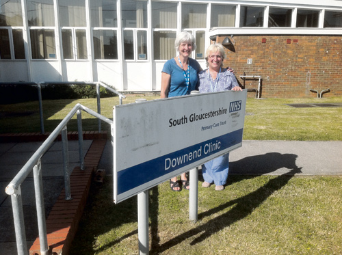 Midwives Mary Roper and Mary Budd outside Downend Clinic