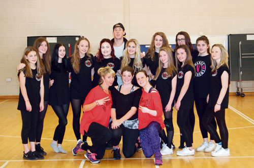 Dancers supporting homeless people: front row, Sam King, Hope Vardakis, Karen Davis; back row, V Dance Academy Senior Lyrical Group with instructor Aaron Hatherall, centre