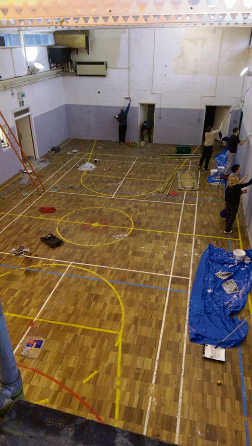 Volunteers from Downend ABC at work reviving the Harry Crook Centre gym