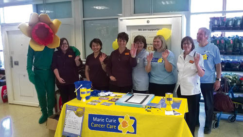 Sainsbury's Emersons Green store at the launch of their Charity of the Year with fundraisers from the charity, Marie Curie nurse and duty manager Mike Hughes