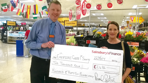 The Emersons Green 1st Scout Group was chosen as the local Sainsbury's charity of the year.