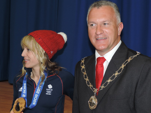 Jenny jones and Ian Boulton at downend school