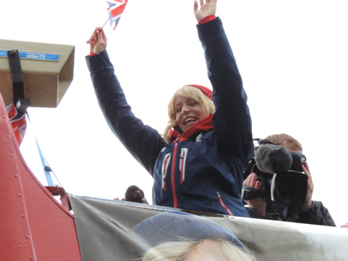 jenny jones on the open top bus at downed school