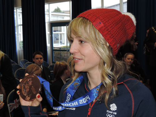 jenny jones with her bronze medal at downend school bristol